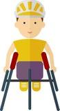 Athlètes dans le fauteuil roulant emballant à l'intérieur d'un stade Couleur plate de style Photos stock