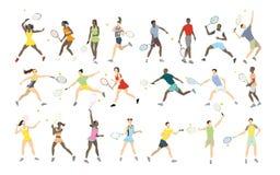 Athlètes de tennis réglés Images stock