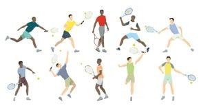 Athlètes de tennis réglés Photo stock