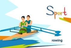 Athlètes handicapés ramant la compétition sportive Photographie stock libre de droits