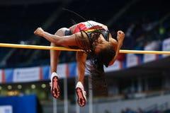 Athlétisme - femmes de pentathlon en hauteur - NAFISSATOU THIAM Photographie stock libre de droits