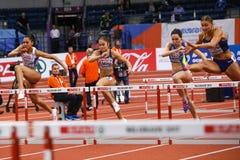 Athlétisme - obstacles des femmes 60m - Milica Emini Photo stock