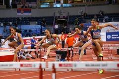 Athlétisme - obstacles des femmes 60m - Milica Emini Photos libres de droits