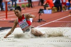 Athlétisme - pentathlon de long saut de femme, AGNOU Caroline Photographie stock libre de droits
