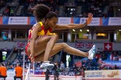 Athlétisme - saut triple de femme, PELETEIRO Ana images libres de droits