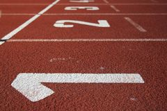 Athlectics Track Lane Numbers Royalty Free Stock Photo