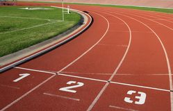 Athlectics Track Lane Numbers Stock Photos