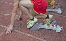 Athlet bereit zu beginnen stockfotos