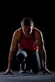 Athlet betriebsbereit zu beginnen stockbilder