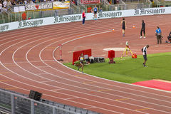 Athlet. At 400 m race on Diamond League in Rome, Italy in 2016 stock images