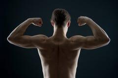 Athlet mit dem Sitztorso, hintere Ansicht Mannbodybuilderflexarmmuskeln Sportlershowbizeps und -Trizeps Training und Training act Lizenzfreies Stockfoto