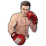Athlet mit den Boxhandschuhen, lokalisiert auf weißem Hintergrund Stockbilder