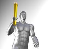 Athlet mit olympischer Fackel Lizenzfreie Stockfotos