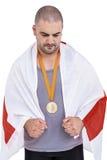 Athlet mit olympisches Goldmedaille Lizenzfreie Stockfotos