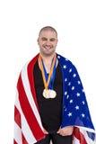 Athlet mit olympisches Goldmedaille Lizenzfreies Stockfoto