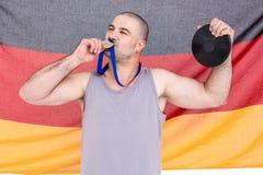 Athlet mit olympisches Goldmedaille Lizenzfreies Stockbild