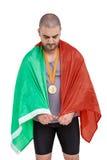 Athlet mit olympisches Goldmedaille Stockbild