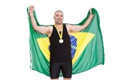 Athlet mit olympisches Goldmedaille Stockbilder