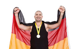 Athlet mit olympisches Goldmedaille Stockfoto