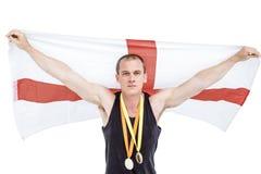Athlet mit olympisches Goldmedaille um seinen Hals Lizenzfreie Stockbilder