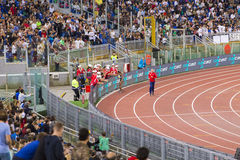 Athlet. Saluting the public on Diamond League in Rome, Italy in 2016 royalty free stock photography