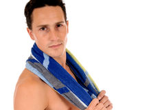 Athlet, Schwimmertuch Stockbild