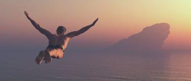 Athlet springt in einen See stockbild