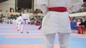 Athlet tatami bereitet sich für Kampf vor stockfoto