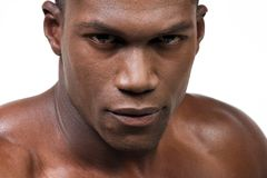 The Athlete. Muscular african american close up portrait Royalty Free Stock Photo
