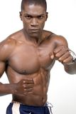 The Athlete. Muscular african american Athelete portrait in a boxing position Stock Photos