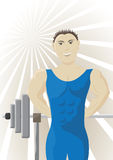 Athlete. And a rod on an abstract background vector illustration