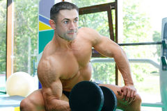 Athlete. The young sports guy trains in a gym lifting dumbbells Royalty Free Stock Images