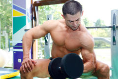 Athlete. The young sports guy trains in a gym lifting dumbbells Stock Image