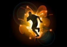 Athlete. Black silhouette ot athlete on the shiny background stock illustration