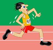 Athlete. Racing on athletics track, looking quite strained and out of breath stock illustration