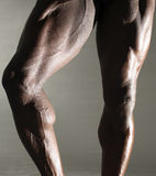 Athlete. Close up of Muscular male dancers legs Royalty Free Stock Photography