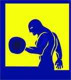 The athlete. The sportsman lifts weight, training of the athlete, a bodybuilding emblem stock illustration