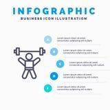 Athlete, Athletics, Avatar, Fitness, Gym Line icon with 5 steps presentation infographics Background vector illustration