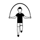Athlete avatar character jump rope icon. Illustration design Royalty Free Stock Photo