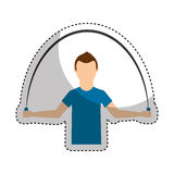 Athlete avatar character jump rope icon. Illustration design Royalty Free Stock Photos