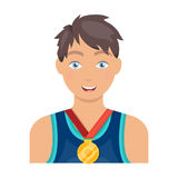 Athlete awarded a gold medal. Sport and reward single icon in cartoon style vector symbol stock illustration web. Stock Photos