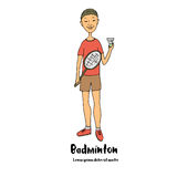 Athlete badminton player is holding badminton racket and shuttlecock in his hands. Cute illustration in cartoon style Royalty Free Stock Images