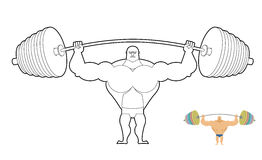 Athlete barbell coloring book. Bodybuilder harvests. Strong man Stock Image