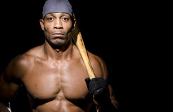 Athlete with baseball bat Stock Photo