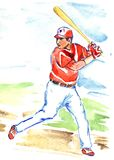 Athlete baseball player batter or hitter is awaiting to hit ball with bat. Baseball player with bat  in red and white sportswear, hand painted watercolor sport Stock Photos