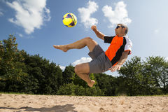 Athlete in beachsoccer. Athlete playing beach soccer, age 44, male, caucasian, shot in 73614 Schorndorf, Germany Royalty Free Stock Photo