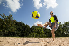 Athlete in beachsoccer. Athlete playing beach soccer, age 44, male, caucasian, shot in 73614 Schorndorf, Germany royalty free stock photos