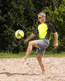 Athlete in beachsoccer. Athlete playing beach soccer, age 44, male, caucasian, shot in 73614 Schorndorf, Germany royalty free stock images