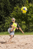 Athlete in beachsoccer. Athlete playing beach soccer, age 44, male, caucasian, shot in 73614 Schorndorf, Germany stock images