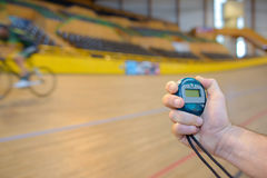 Athlete with bicycle at velodrome Royalty Free Stock Images